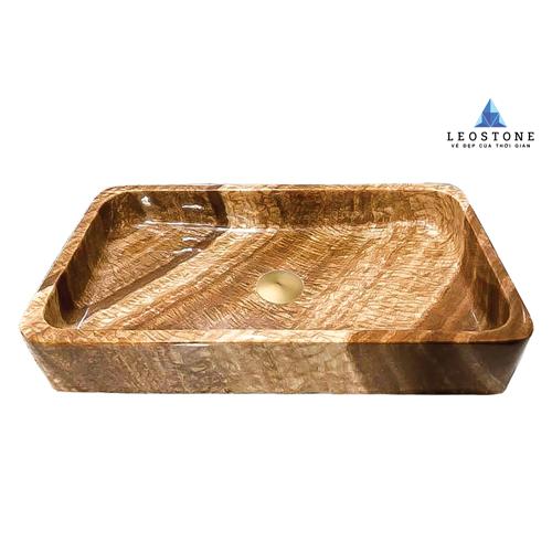 Lavabo Đá Tự Nhiên Leo Solid Soil - Vàng Nâu - Hình chữ nhật