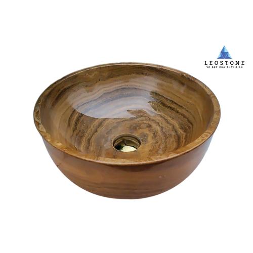 Lavabo Đá Tự Nhiên Leo Solid Soil - Vàng Nâu - Hình tròn dày