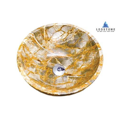 Lavabo Đá Tự Nhiên Leo Grey Leaf - Vân Mây - Hình tròn mỏng